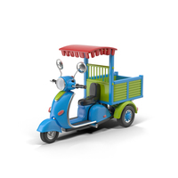 Cartoon Motorized Tricycle Blue Object