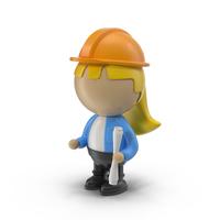 Cartoon Female Engineer Object