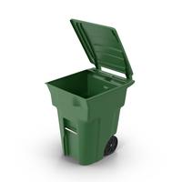 Green Open Trash Bin Object