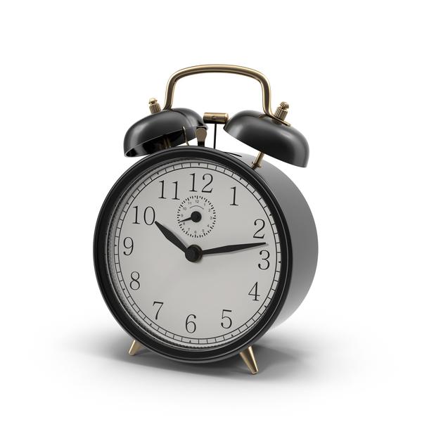 Vintage Black Alarm Clock Object