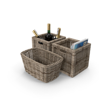 Wicker Baskets With Magazines and Wine Object