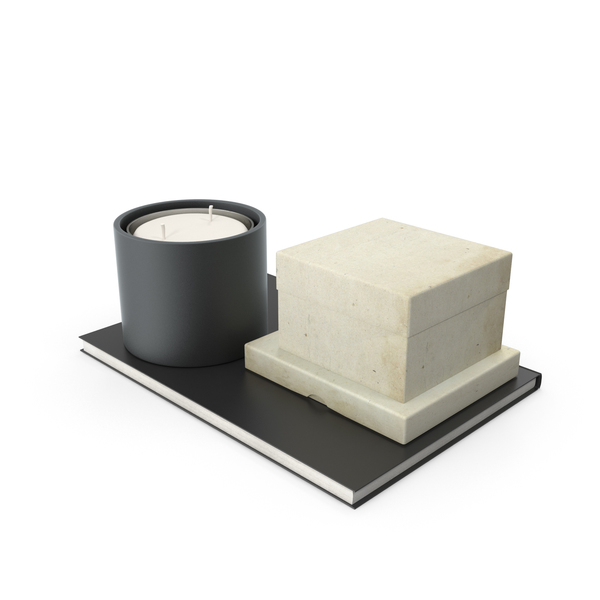 Candle And Small Box On Notebook Object