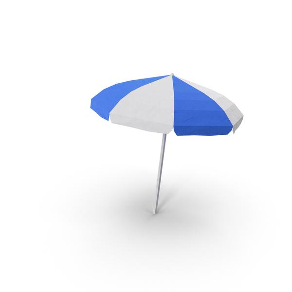 Low Poly Beach Umbrella Object