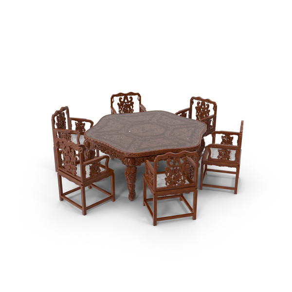 Oriental Dining Table & Chairs Object