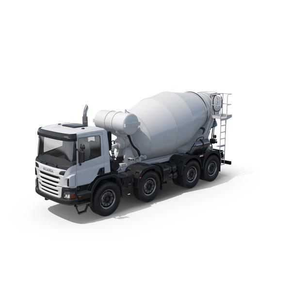 Scania White Concrete Mixer Object