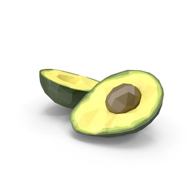 Low Poly Split Avocado Object