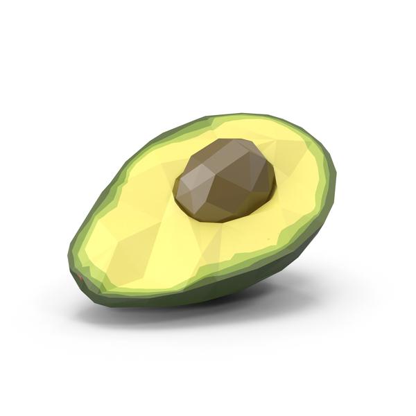 Low Poly Avocado Halved Object